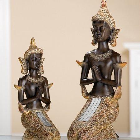 Thai Buddha Statue Höhe 30 cm kniend braun Muster goldorange Spiegelplättchen
