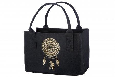 Umwelttasche Filz Traumfänger Filz Tasche Farbe schwarz Motiv gestickt Farbe gold-ocker
