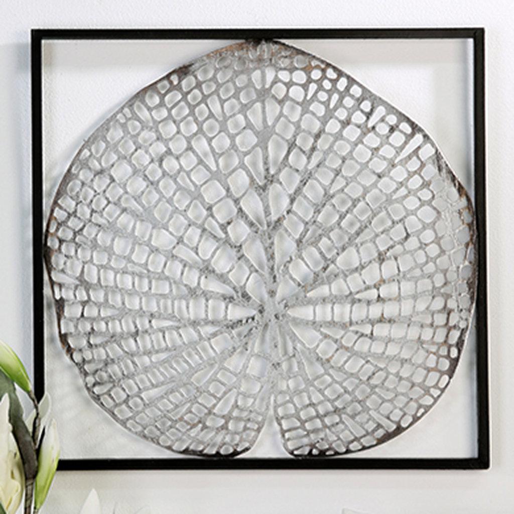 wanddeko leaf in antik silber im rahmen von casablanca. Black Bedroom Furniture Sets. Home Design Ideas