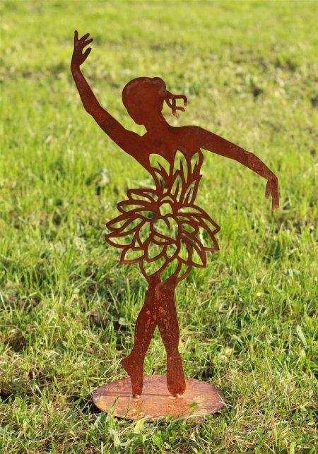 Dekoration Rost Edelrost Dekoration Ballerina auf Platte Blumenkleid Outdoor Deko