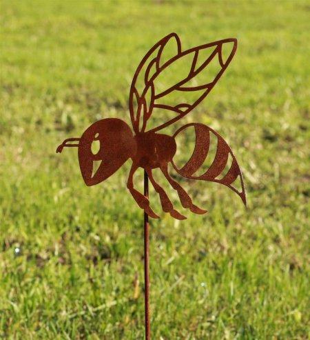 Die Biene als Steck Figur für den Outdoor Bereich im Garten, auf Balkon oder Terrasse