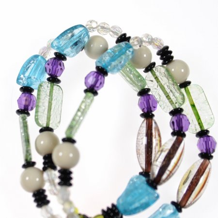 Armband dreiteilig Steine bunt Gummizug Modeschmuck