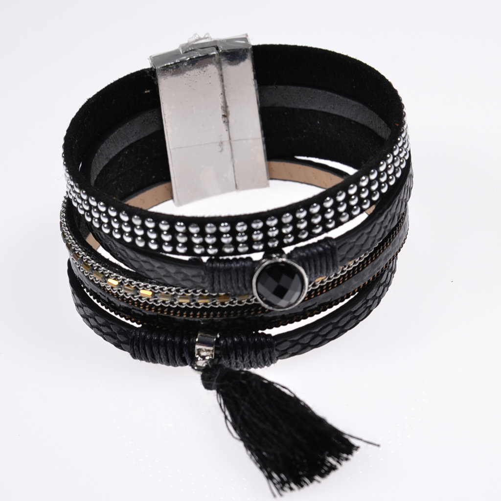 Damenarmband Lederarmband schwarz Armschmuck Bracelet ...