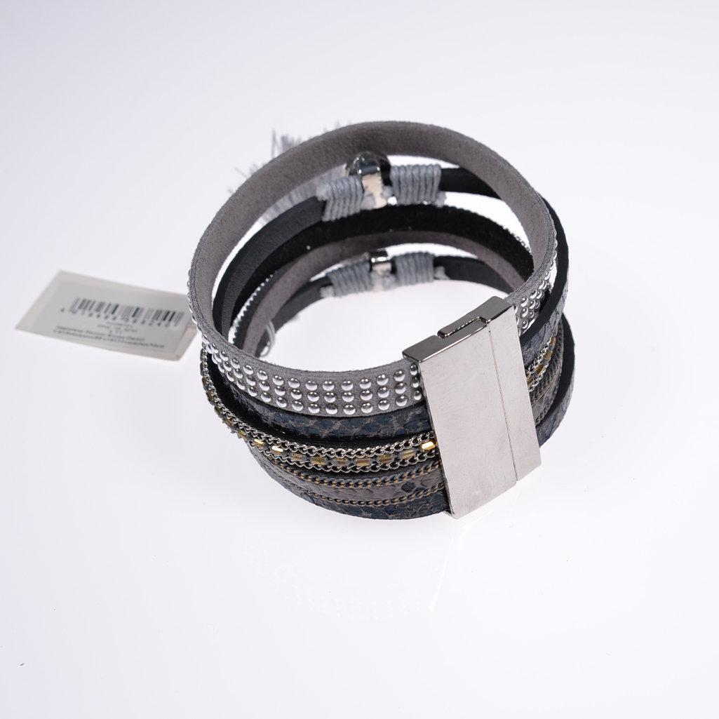 Damenarmband Lederarmband grau Armschmuck Bracelet Magnetverschluss ...