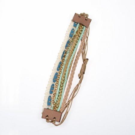 Armband Beige Wickel Armband sieben Bänder Modeschmuck