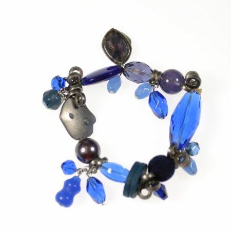 Armband blau silber elastisches Band Modeschmuck sportlich