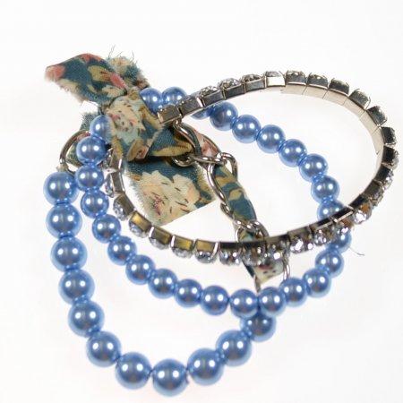 Armband drei Reifen Gummizug blau Glitzersteine Modeschmuck