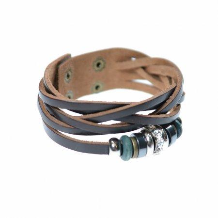 Armband dunkelbraun geflochten Einzelband Ringe Druckknöpfe