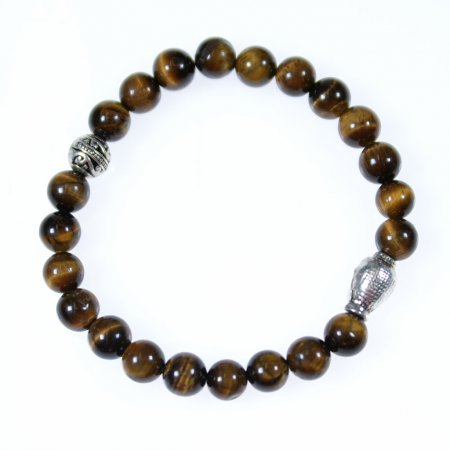 Armband braun silber Modeschmuck Stein Tigerauge Buddha Kopf