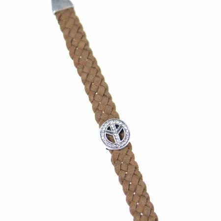 Armband braun geflochten Lederoptik Peace Zeichen Glitzersteine Modeschmuck