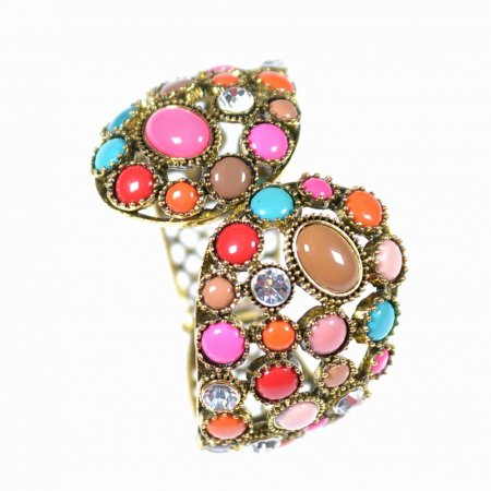 Armband Armreif goldfarben Steine bunt Modeschmuck