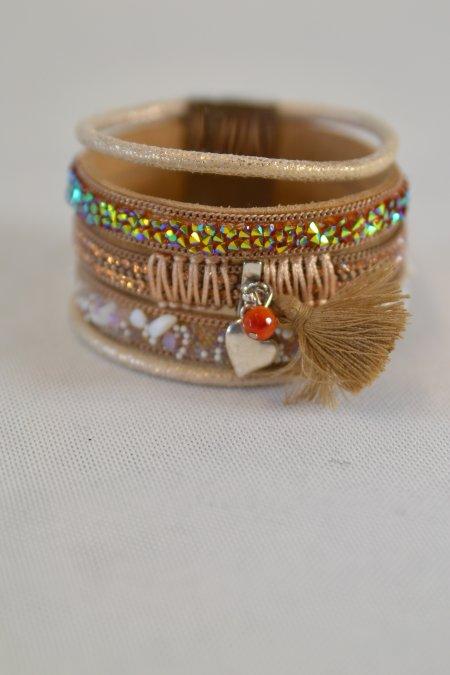Armband hellbraun Leder Steine bunt Magnetverschluss