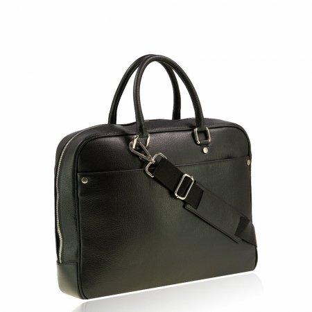 Vera Pelle Leder Aktentasche Farbe schwarz Beschläge silber Made in Italy