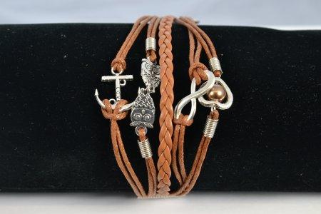 Armband hellbraun Modeschmuck Bänder Anhänger