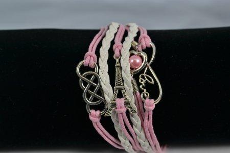 Armband rosa weiß Anhänger Lederoptik Modeschmuck