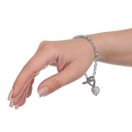 Glitzersteine auf Herzen und Verschluss, silberfarbenes Armkettchen, Modeschmuck