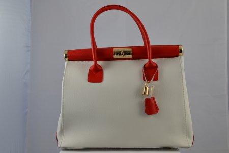 Damenhandtasche Bügeltasche Leder weiss rot Made in Italy