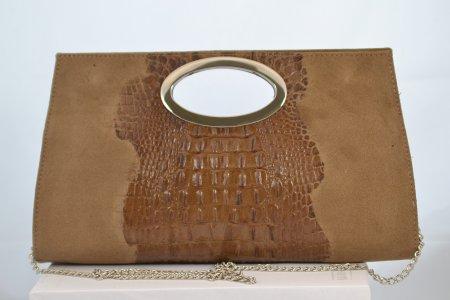 Damenhandtasche Clutch Echtleder braun Kroko