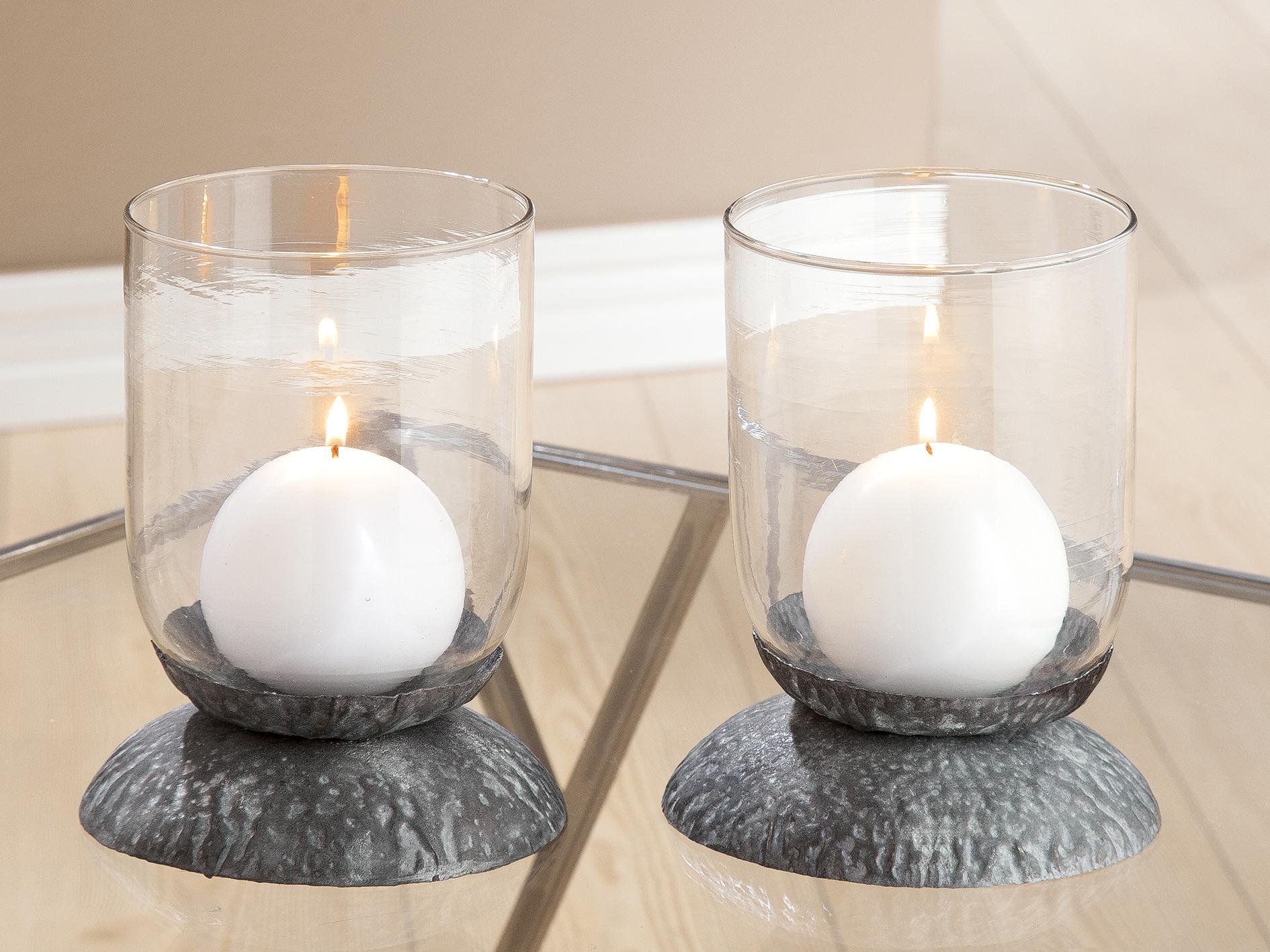 Windlicht Set grau Gilde Glaswindlichter Windlichtglas Kerzenständer