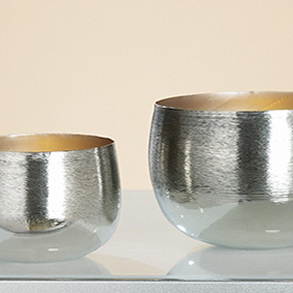 "Teelichthalter Set Serie ""Stripes"" Alu silber Gilde Handwerk"
