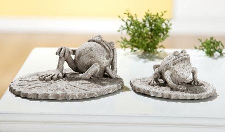 Gartendeko Set Frosch auf Blatt grau antik Außenbereich