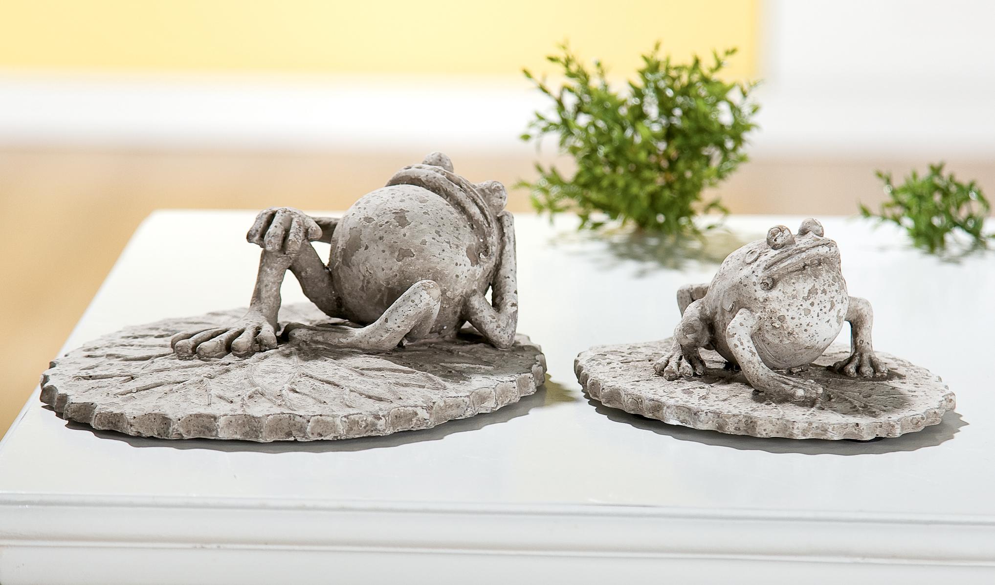 gartendeko set frosch auf blatt in grau antik f r den au enbereich. Black Bedroom Furniture Sets. Home Design Ideas