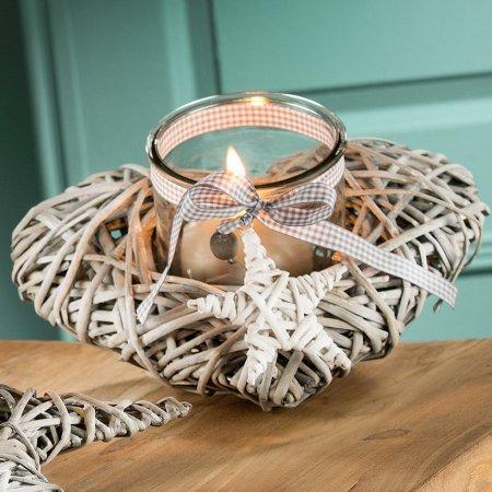 Windlicht Bast grau Wohnaccessoire Kerzenständer Gilde