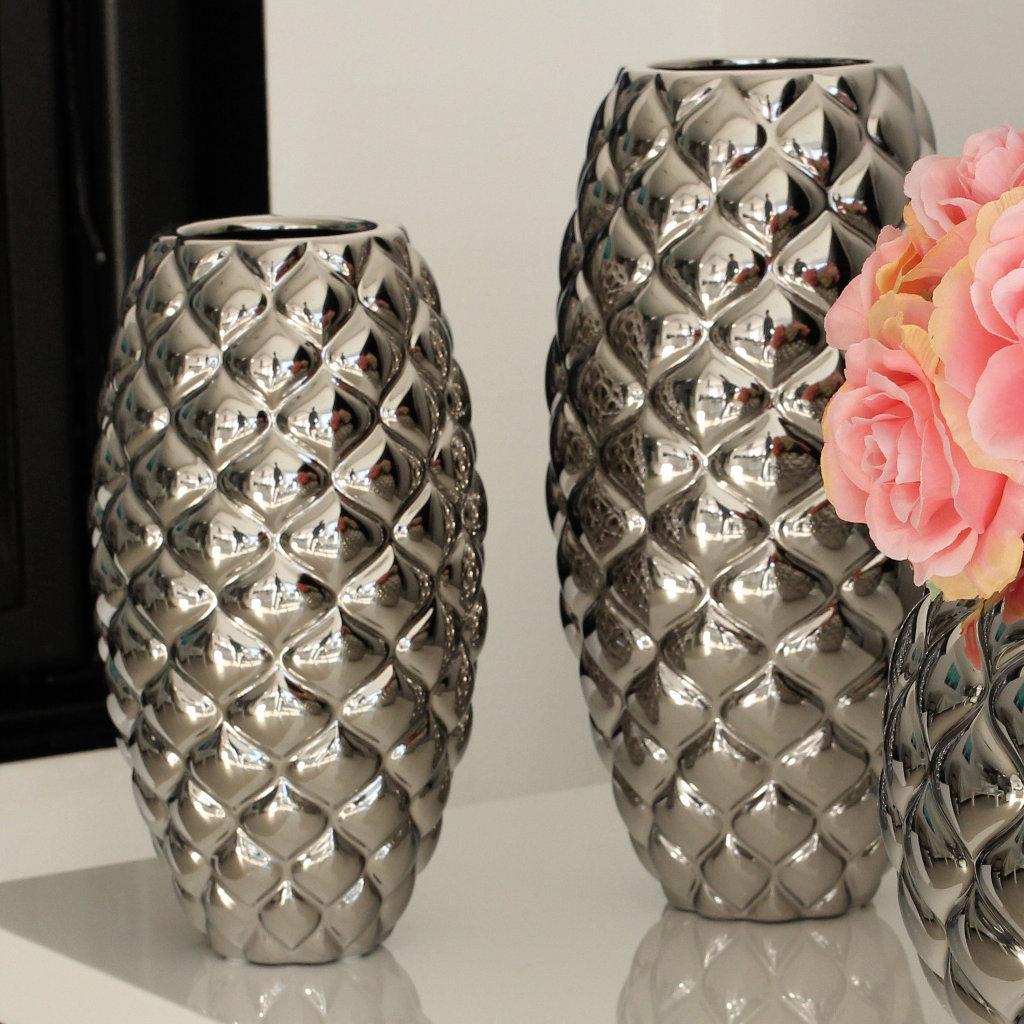 Ovale Vasen Paragon Set Gilde Handwerk Silberfarben