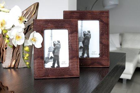 Fotorahmen Set braun Schlangenlederoptik Tischaufsteller Bilderrahmen