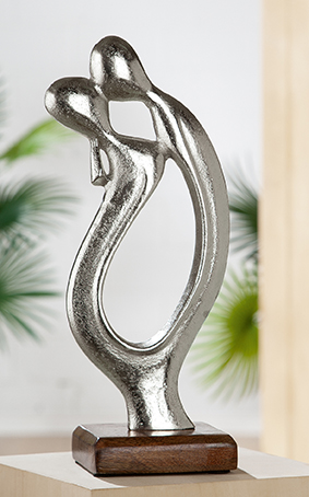 Skulptur Figura Der Kuss Gilde Aluminium Mangoholz