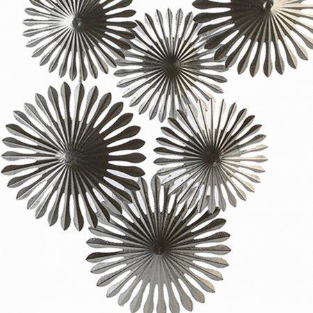 Wohnraumverschönerung Wanddeko Dandelion Metall silber Höhe 53cm Sieben Blüten