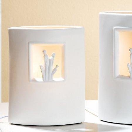 """Lampe """"Wir sind eins'""""weiß Porzellan Gilde Höhe 22cm"""