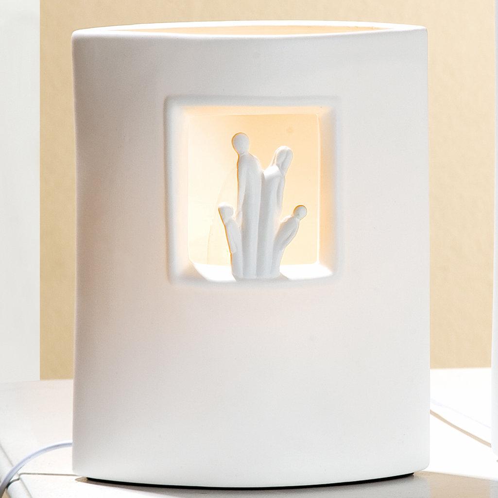 lampe wir sind eins 39 wei porzellan gilde nachttischlampe stimmungsbeleuchtung tischleuchte. Black Bedroom Furniture Sets. Home Design Ideas