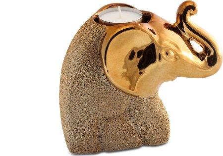 Teelicht Halter Elefant goldfarben Set zwei Stück Gilde Handwerk