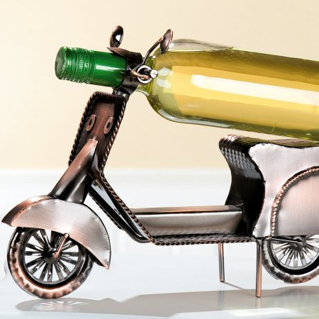 Motorroller Flaschenhalter kupfer Breite 33cm Weinflaschenhalter