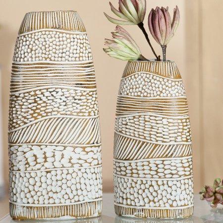 Vase Ethnolook braun weiss Höhe 34 cm Gilde Handwerk