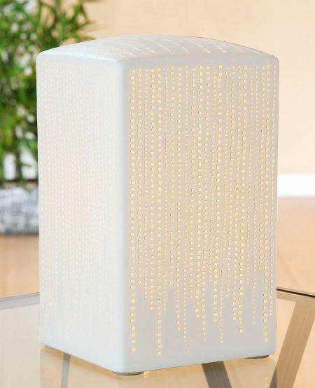 Porzellanlampe Quader weiss Höhe 20 cm Gilde Handwerk