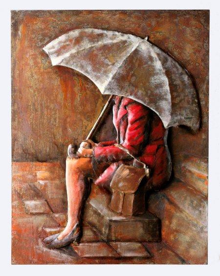 """Wohndekoration Metallbild """"Waiting In The Rain"""" Höhe 100cm Frau mit Regenschirm Rottöne"""