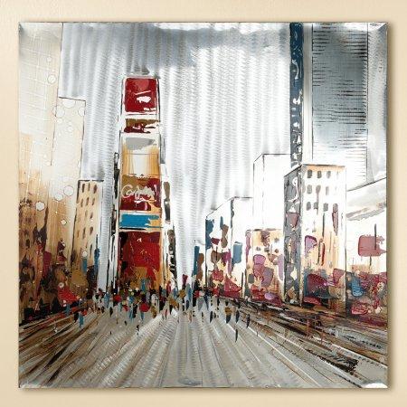 Gemälde Times Square Format 80x80cm Metalloptik Gilde
