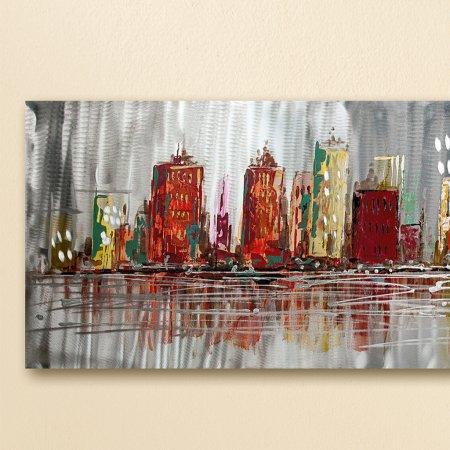 Gemälde Skyline Querformat bunt plastisch Aluminium Elemente Gilde