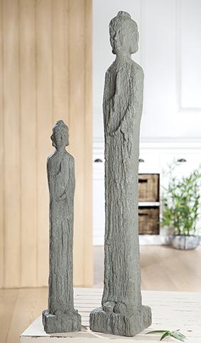 Buddha Figur schlank Zementfarben wetterfest Gilde Handwerk