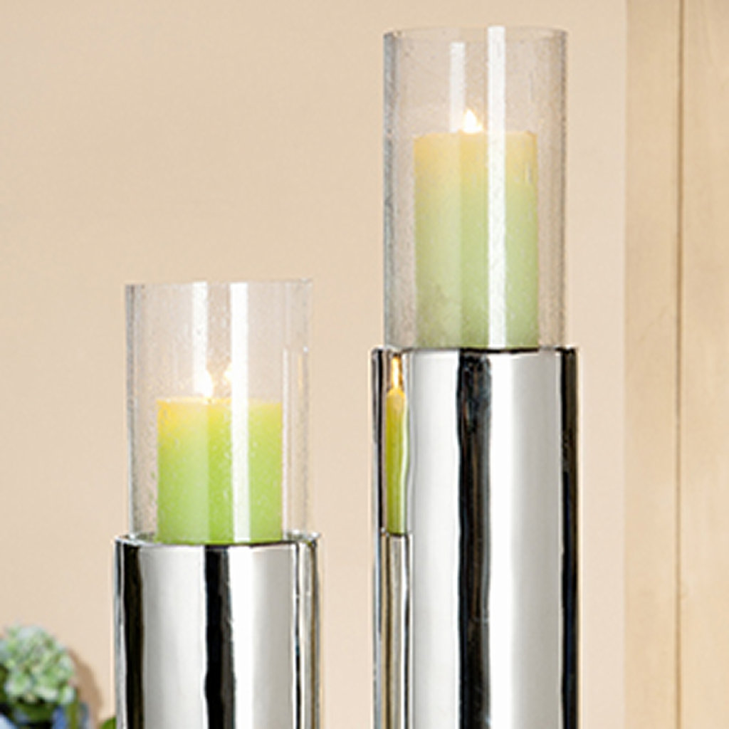 kerzenhalter stripes silber h he 45cm aluminium aby fashion. Black Bedroom Furniture Sets. Home Design Ideas