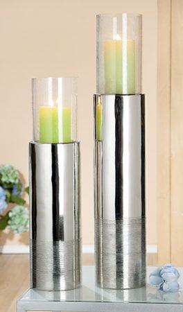 """Kerzenhalter """"Stripes"""" silber Höhe 58cm Aluminium"""