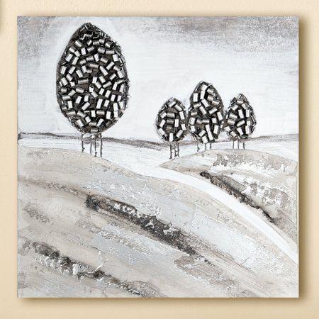 Gemälde Toscana Feeling handgemalt silber grau Gilde