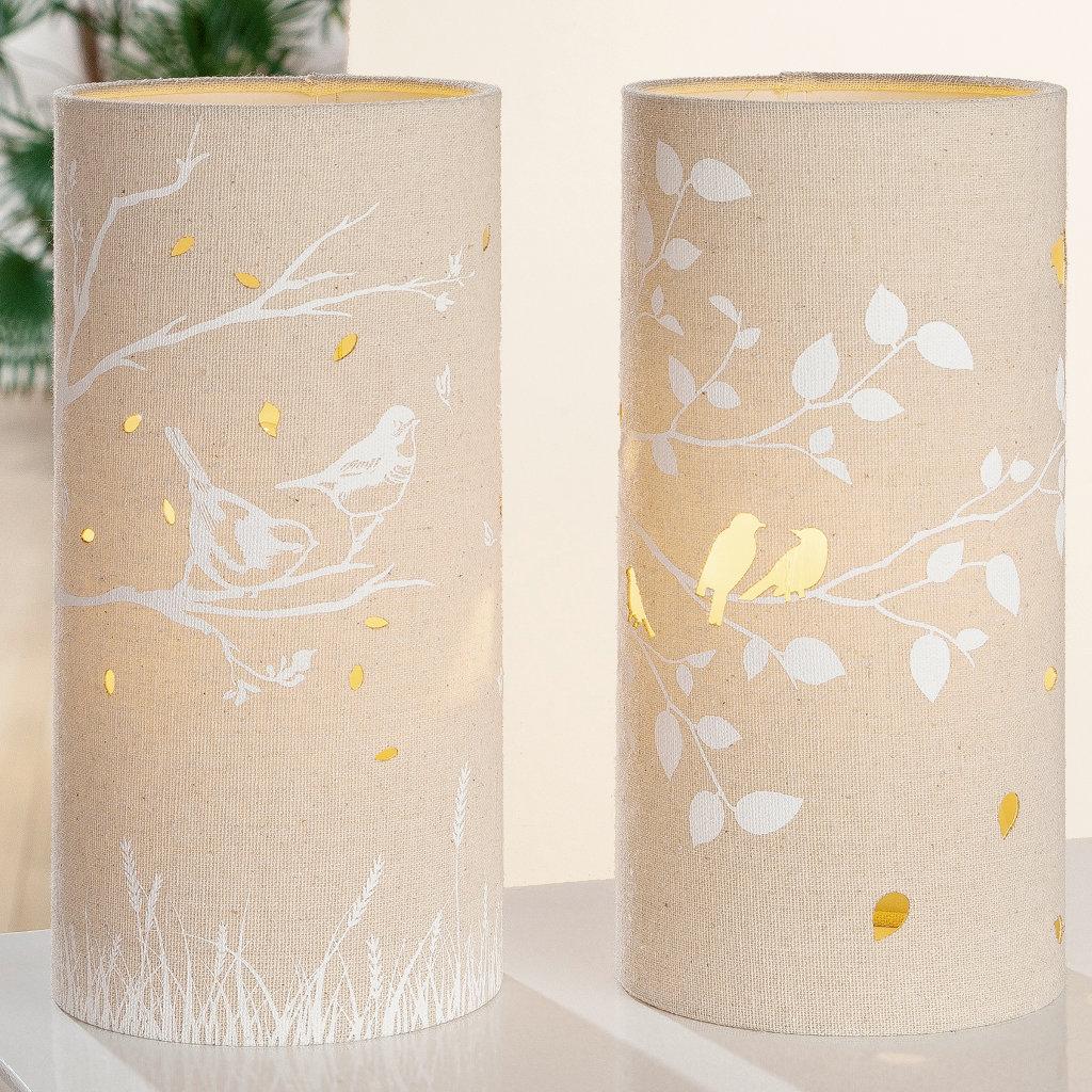 Beleuchtung Set zwei Stück Textil Lampen Baum mit Vögel Farbe beige Form rund Gilde Handwerk