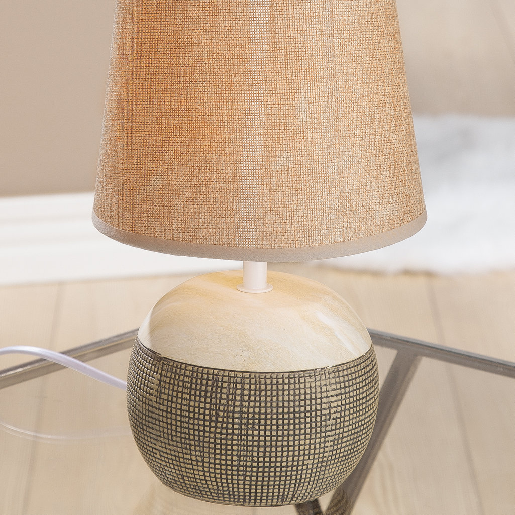 Kugellampe klein Tondo Marmoria Keramik Schirm beige