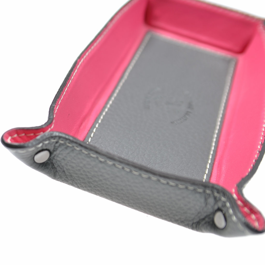 Aufbewahrungsschale Echtes Leder Pink Taupefarben Rechteckig Unikat