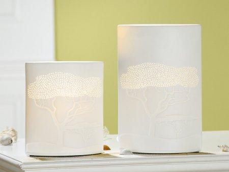 Porzellanlampe Ellipse Savanne weiß Höhe 28cm