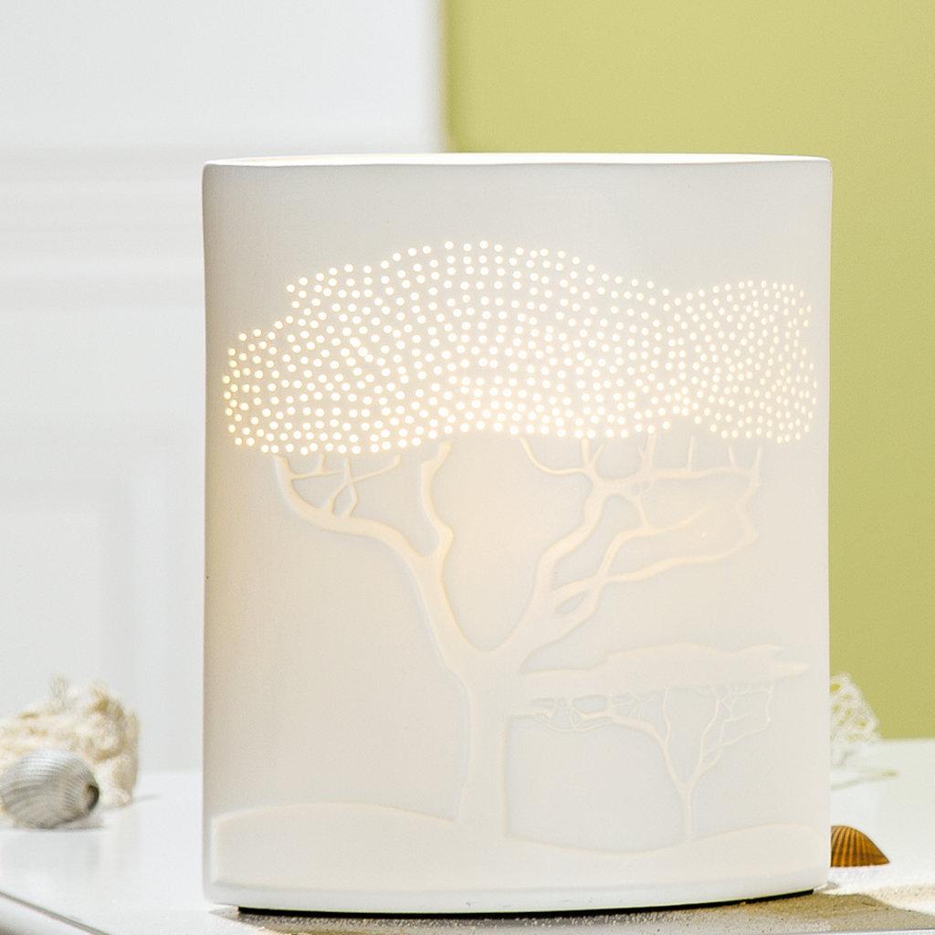 Beleuchtung Porzellanlampe Ellipse Savanne weiß Höhe 20cm