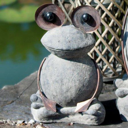 Witzige Froschfigur outdoor Gartenfigur Frosch Fred Magnesi Farbe grau Gilde Handwerk